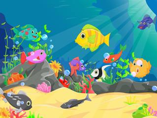 Viele Fische im Aquarium - manche sind auch Haie