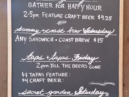 Daily Specials and Events at HUNTER GATHER