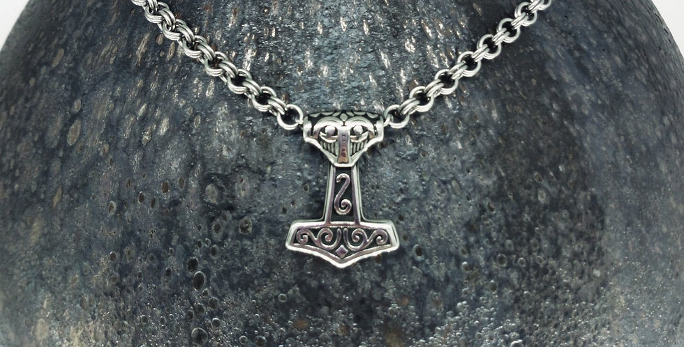 'Petite Mjolnir'  Handcrafted Chain Necklace