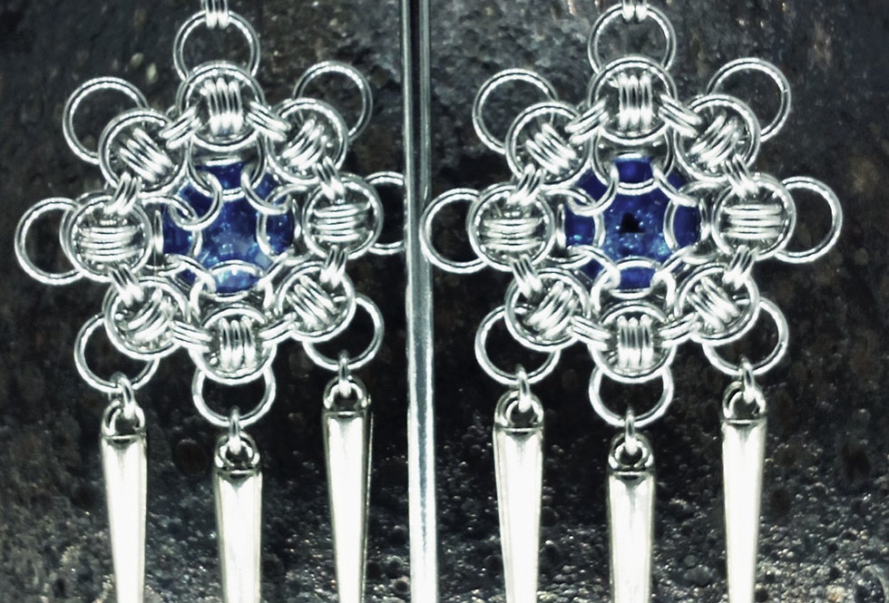 'Crystal Sapphire Icicle Drop'  Earrings