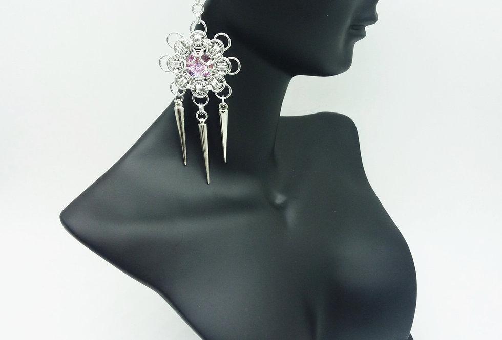 'Crystal Pink Icicle Drop'  Earrings