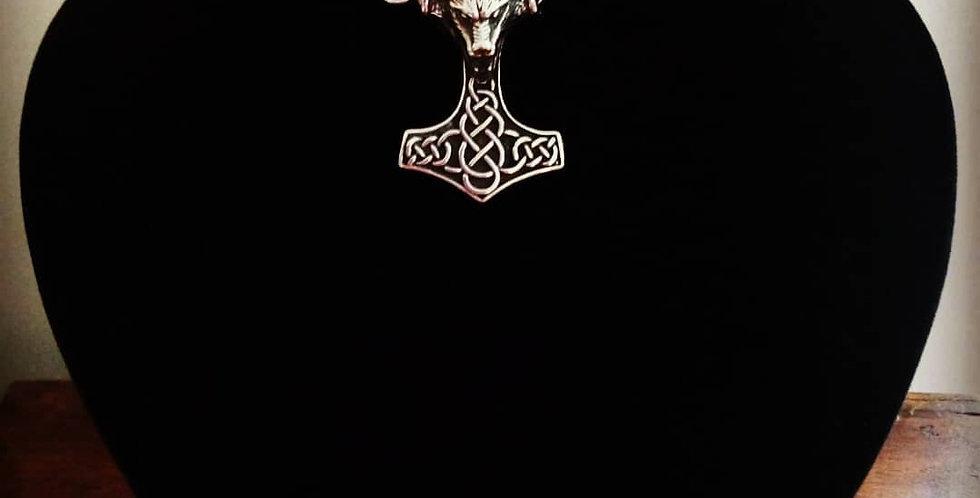 'Armoured Wolfshead Mjolnir'  Necklace