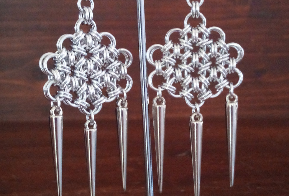 'Ice Queen'  Spiked Earrings