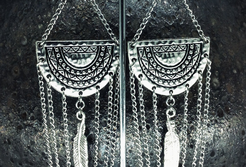 'Aztec Feather Dangle'  Earrings