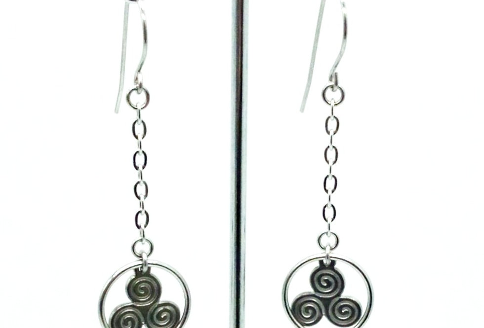 'Brugh na Boinne'  Triskele Earrings