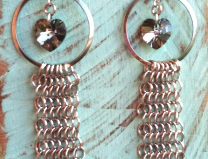 'Armoured Heart'  Crystal Earrings