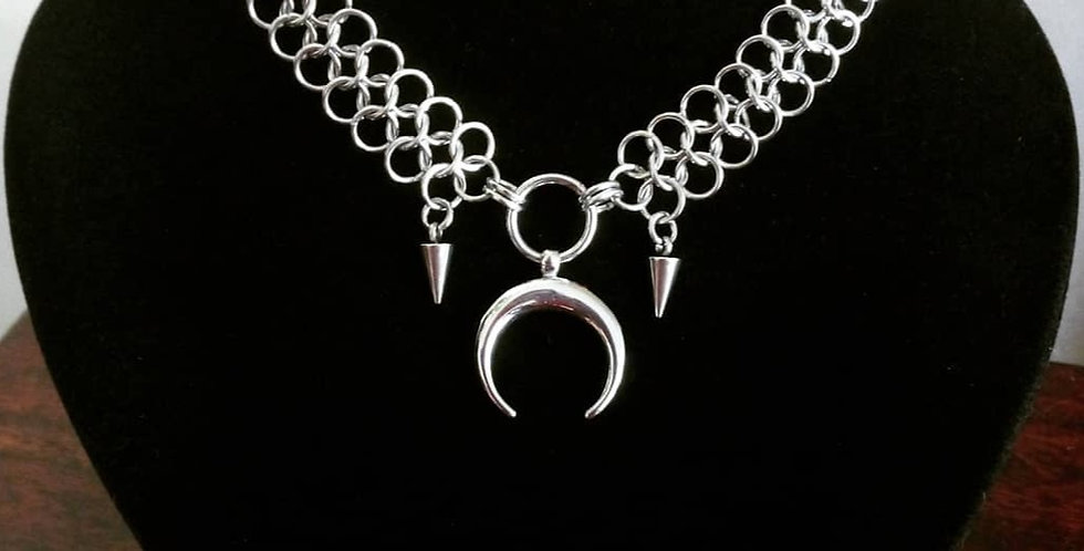 'Spiked Moon Goddess'  Chainmaille Necklace