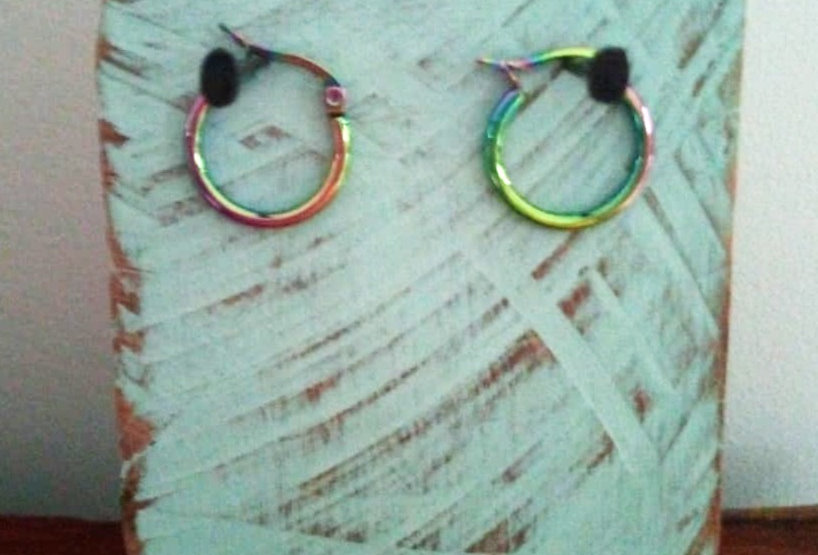 Stainless Steel Hoops, Three Colour Ways.