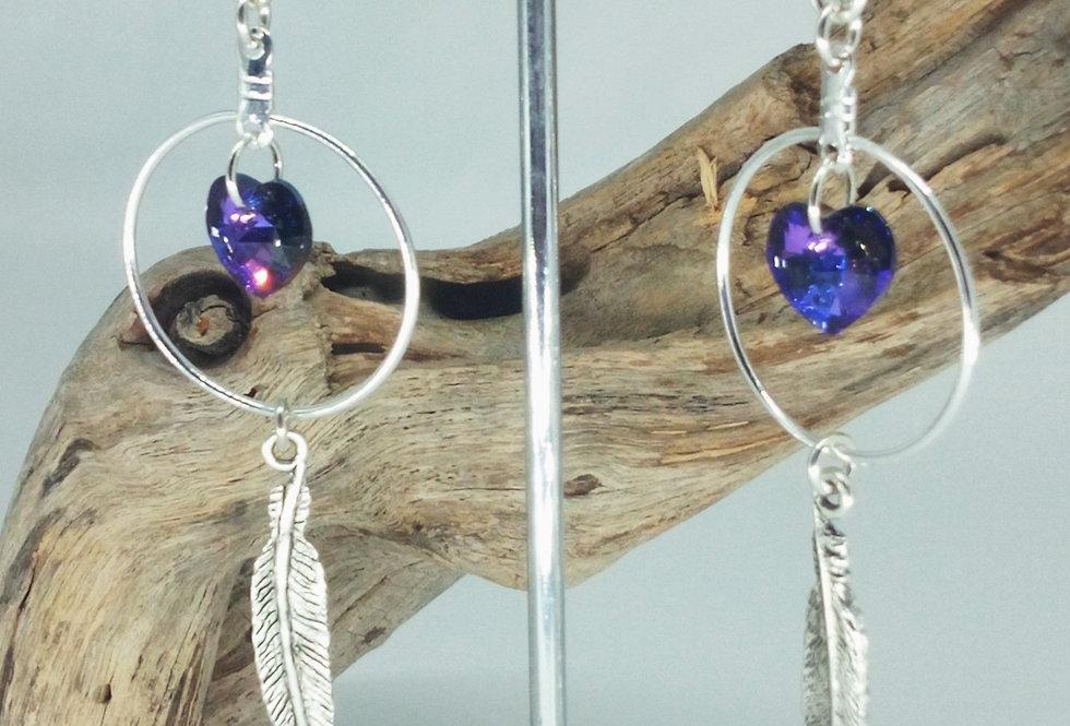 'Swarovski Heart And Feather'  Hoop Earrings