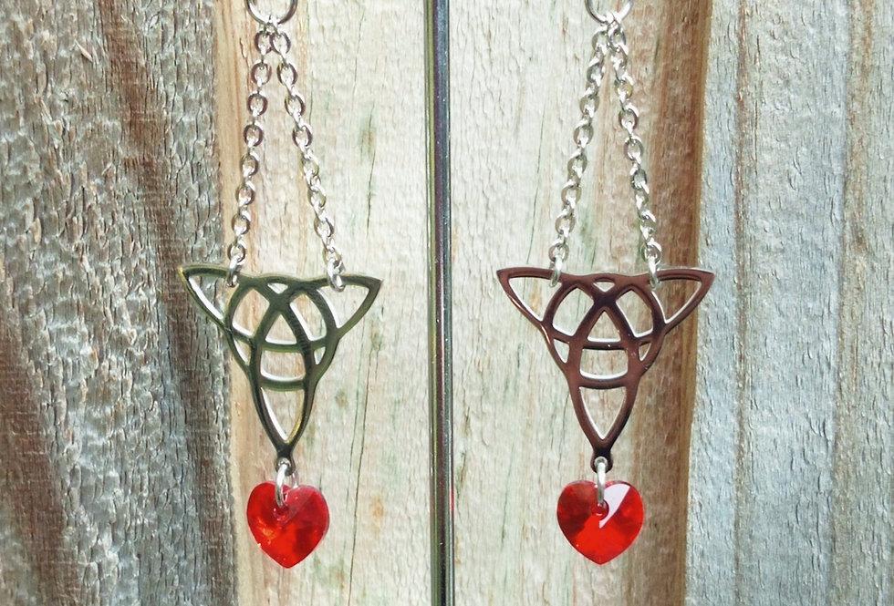 'Celtic Heart'  Earrings - Red