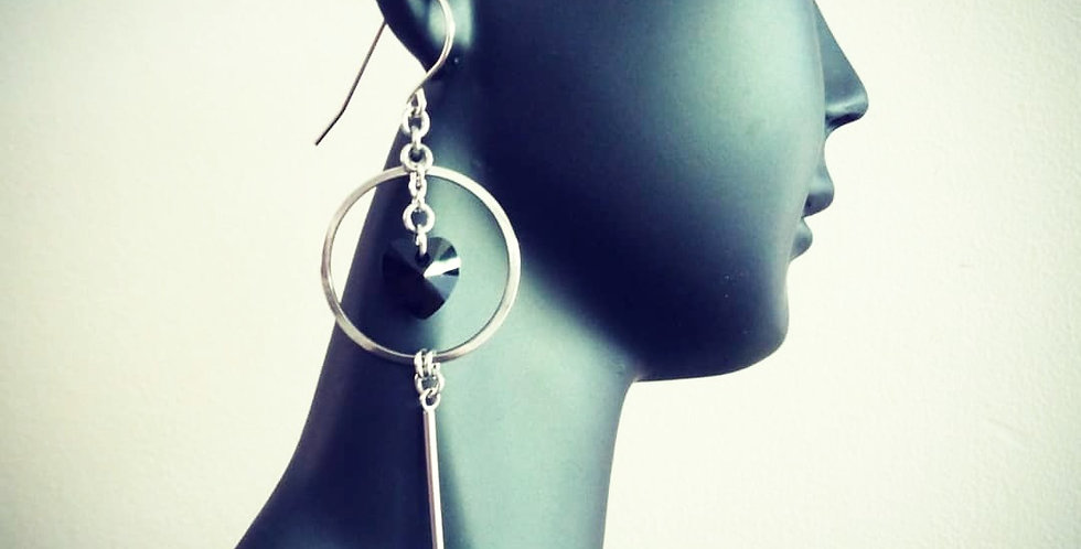 'Black Heart'  Crystal Earrings