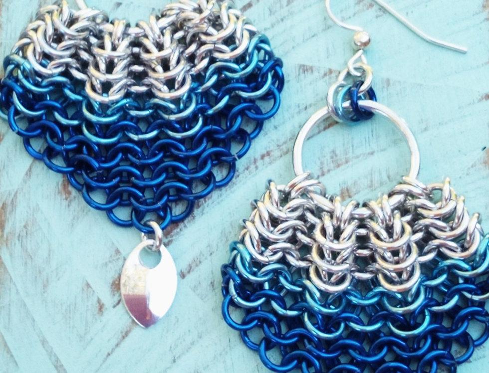 'Mermaid Shell' Earrings - Blue