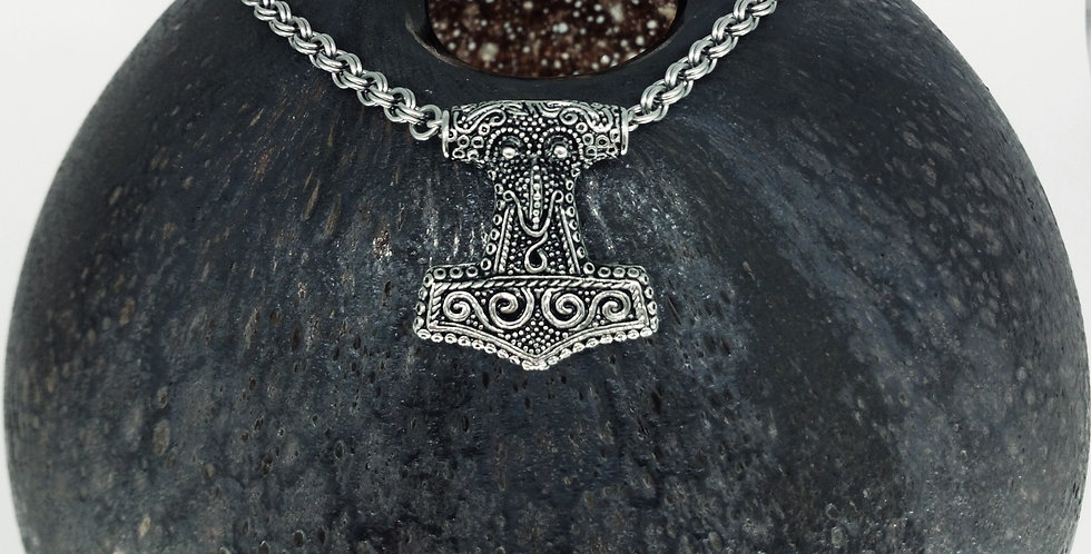 'Skane Style Mjolnir'  Handcrafted Chain Necklace