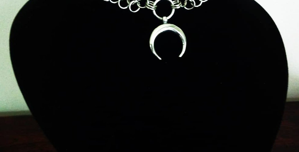 'Armoured Moon'  Chainmaille Necklace