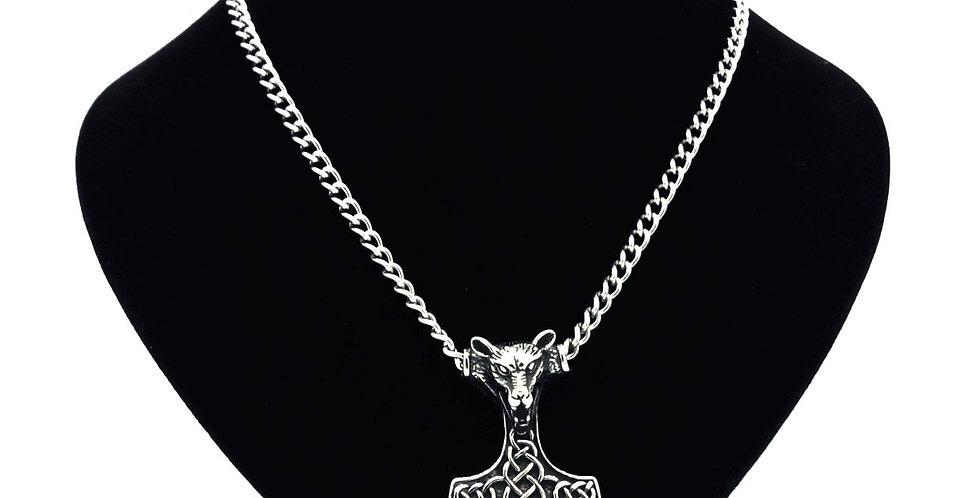 'Fenrir Wolf'  Mjolnir Necklace
