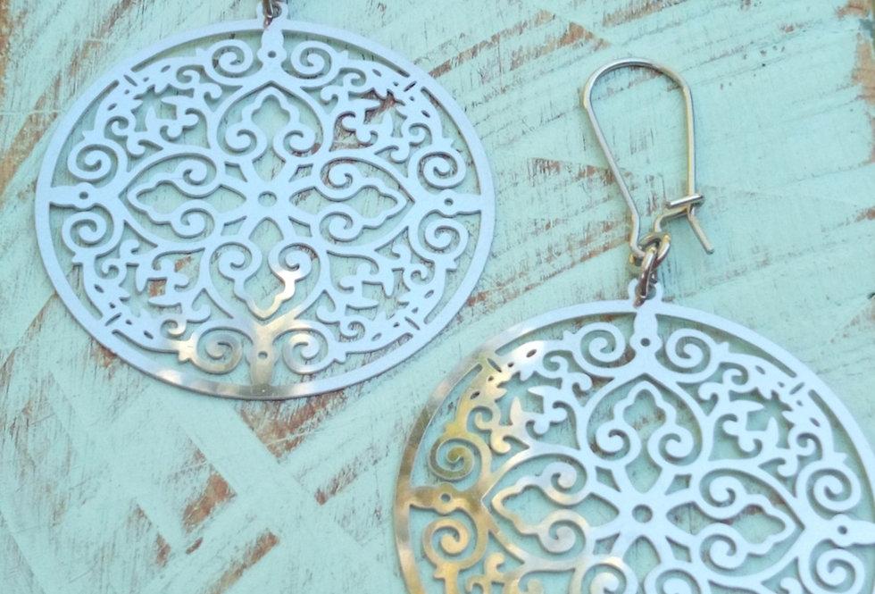 'Silver Goddess' Filigree Earrings