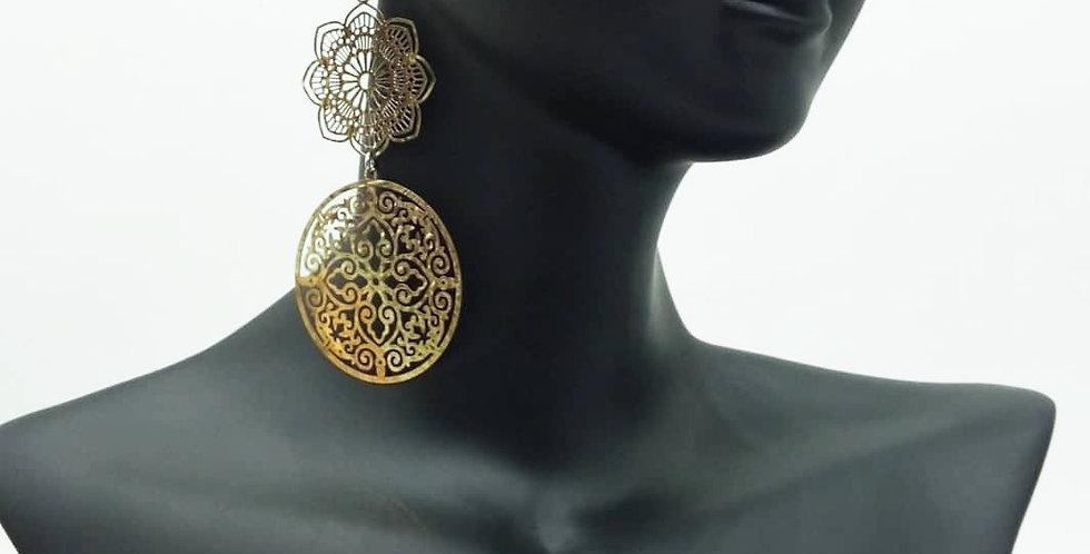 'Lux Double Mandala'  Earring  (Gold Tone)