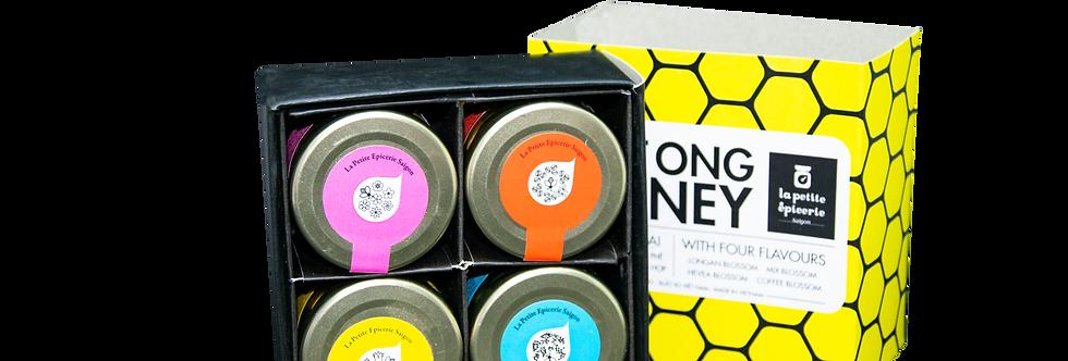 Gift box of 4 honey jars