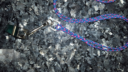 Pink and blue lanyard with whistle