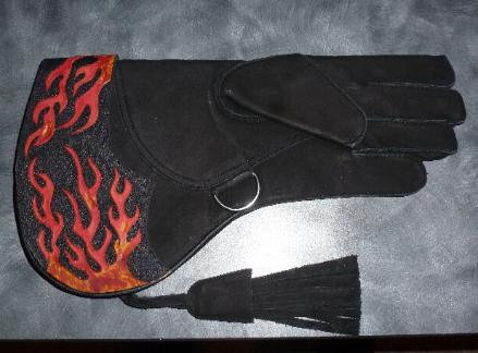 Custom flame design glove