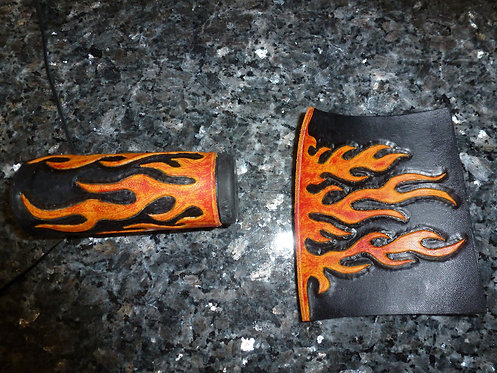 Motorcycle handle grips multi color flame
