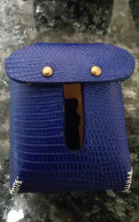 Blue dyed lizard skin hood protector