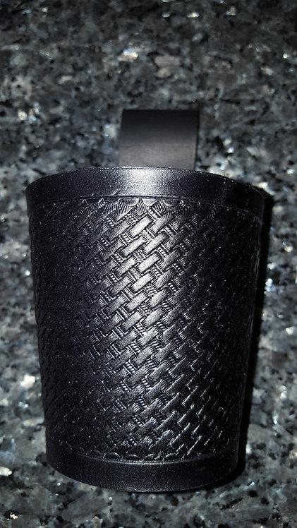Black basketweave hand tooled tid bit holder