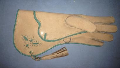 Tan and green glove with falcon inlay (#08)