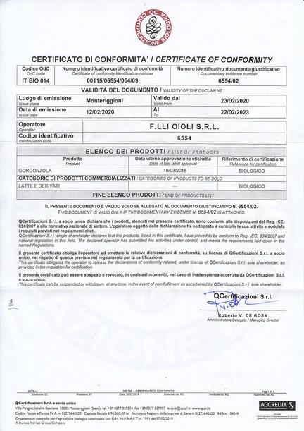Certificato Conformità Bio