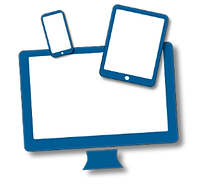 An image of a computer screen, tablet and smartphone, to symbolise online learning.