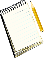 A notebook with spiral binding at the top and a pencil next to it.