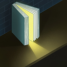 An upright book with the pages open. Light is coming from between the pages into a dark room.