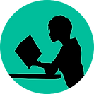 A silhouette of someone reading a book at a table. This represents independent learning.