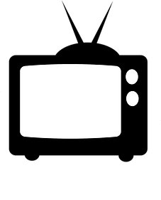 A black and white image of a television.