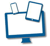 A computer monitor, smartphone and tablet. This represents online learning.