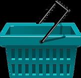 A green shopping basket.