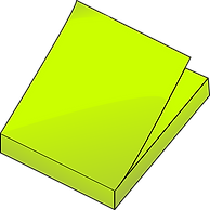 A pad of green sticky notes.