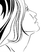 A woman with long hair. A blue arrow symbolises she is taking a breath in through her nose.
