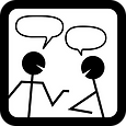 A silhouette of two people speaking, with speech bubbles above their heads.