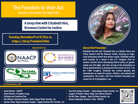 NAACP Des Moines Sponsors Voting Rights Expert, Elizabeth Hira
