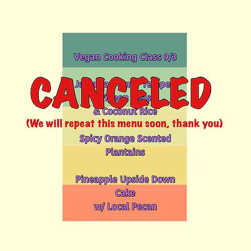 September 3 Vegan Cooking Class