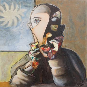 Pablo il pensiero tra le mani acrilico e collage su tela 50x50 anno 2010.jpg
