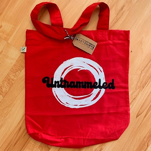 70's style 2 colour 'untrammeled' organic cotton tote bag