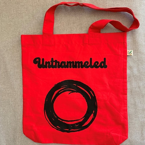 70's style 'untrammeled' organic cotton tote bag
