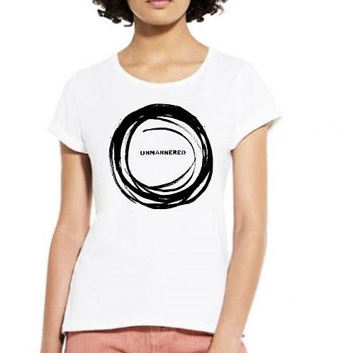 'untrammeled' organic cotton women's rolled sleeve artshirt