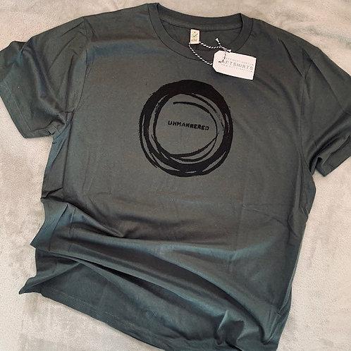 men's/unisex 'unmannered' organic cotton artshirt - stone wash green