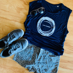 navy blue modal unmannered with shorts