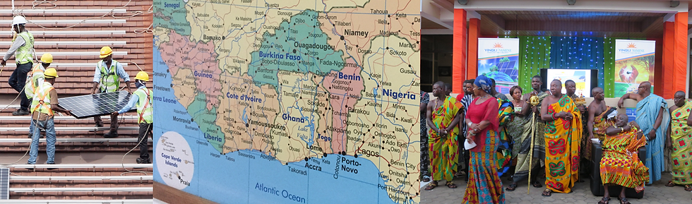 West Africa map with solar panels and Ghanaian traditional dresses