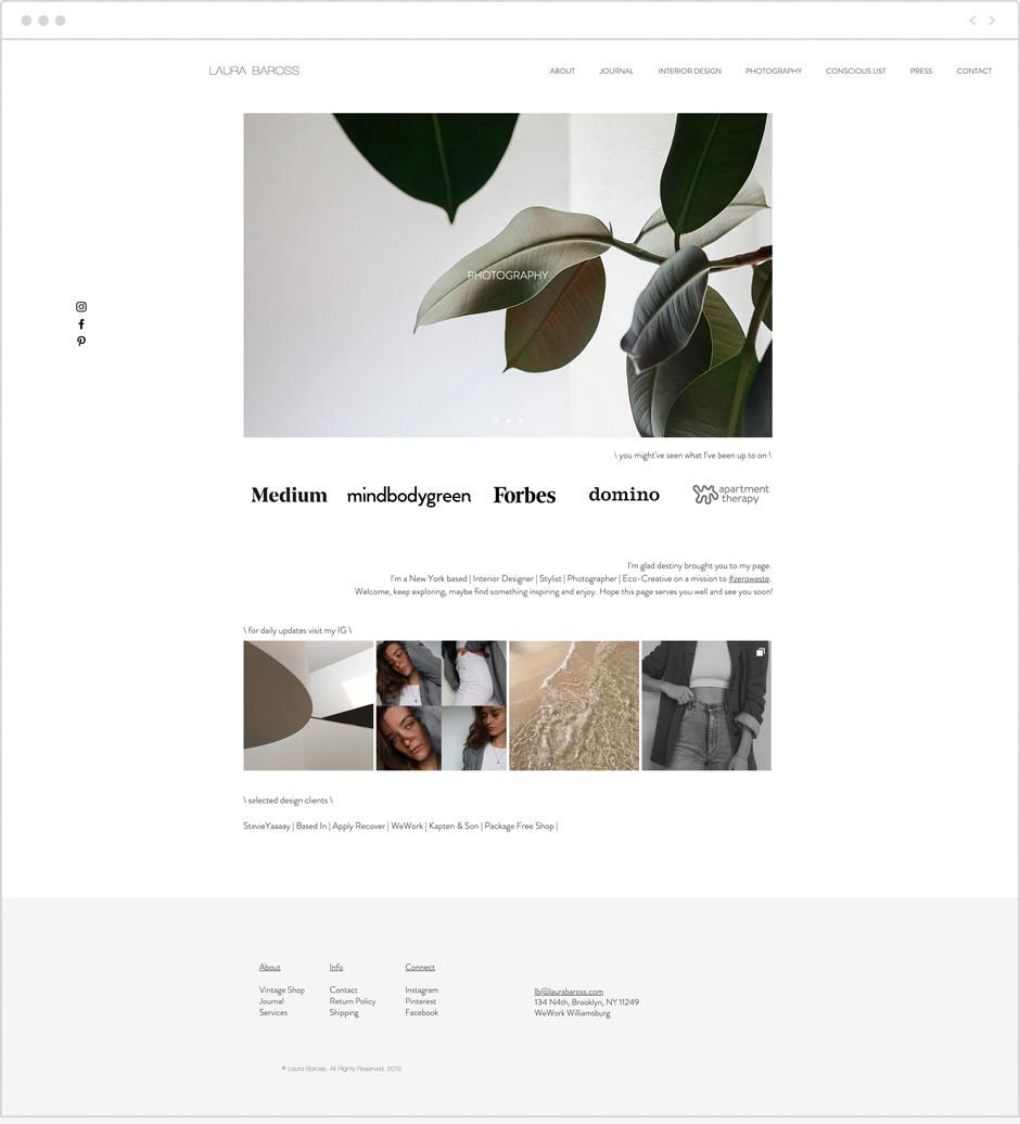 Laura Baross personal website example