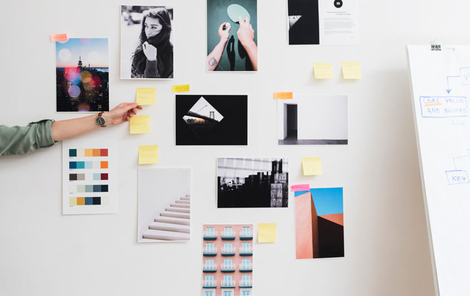 Physical mood board on a wall